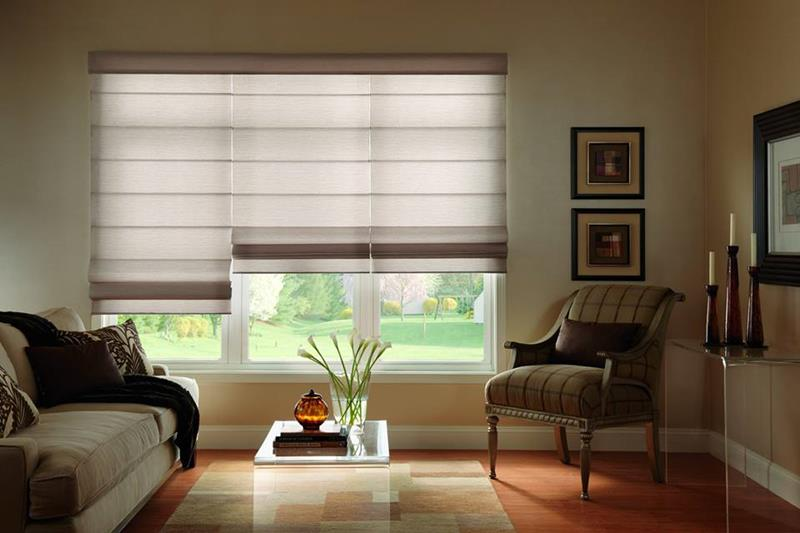 Custom Flat Light Filtering Roman Shades in Riverside, CA