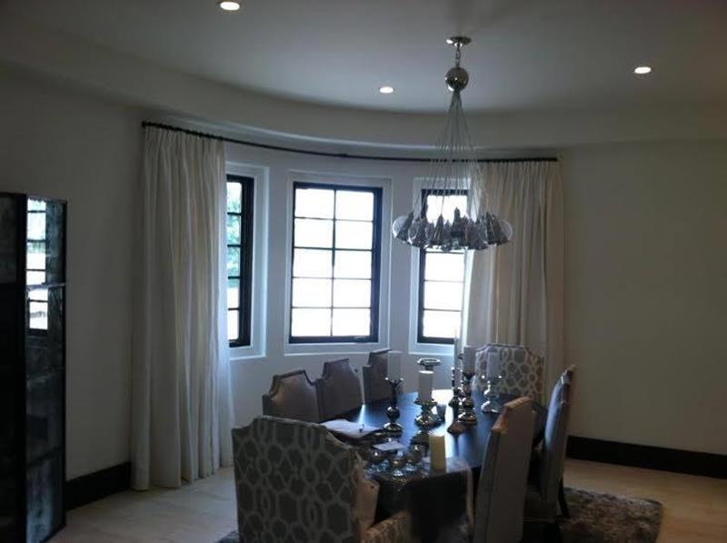 Custom Radius Drape Hardware With Light Filtering Fabric Drapes in Palm Springs, CA